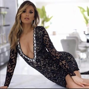 Holt Miami crystal plunge lace dress